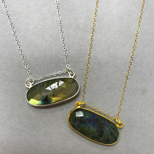 Labradorite Oval Bezel Set Necklace