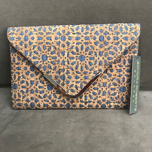 Sondra Roberts Denim & Cork Clutch