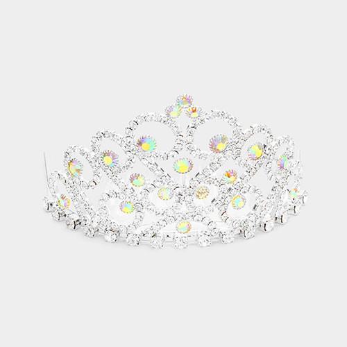 The Princess Crystal AB Mini Tiara in Silver