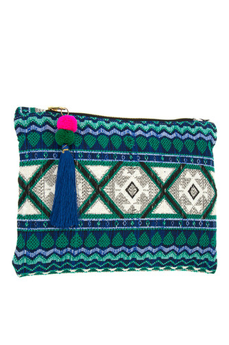 Diamond Pattern Knit & Tassel Clutch