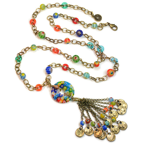 Millefiori Glass Bead Tassel Necklace