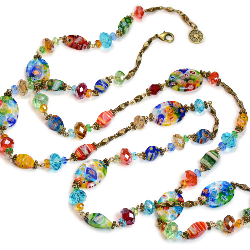 Millefiori Glass Beaded Necklace