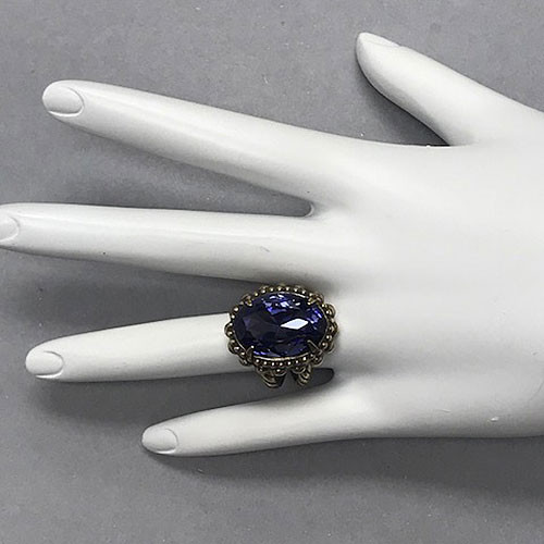 Sorrelli Faceted Oval Deep Purple Crystal Ring