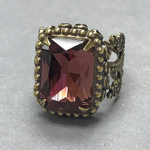 Sorrelli Royal High Set Emerald Cut Mahogany Crystal Ring