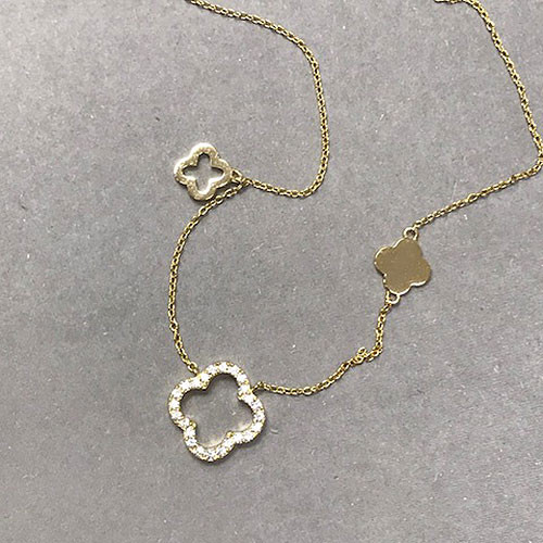 .925 Sterling Silver Vermeil Triple Flower Necklace
