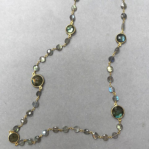 Raw and Polished Labradorite 14K Chain