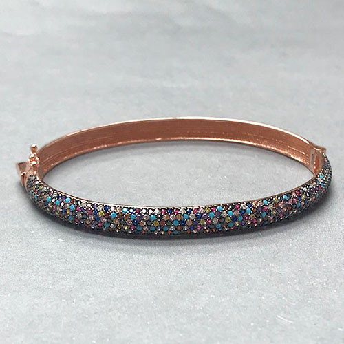 Multi-Colored Crystal Rose Gold Vermeil Bracelet