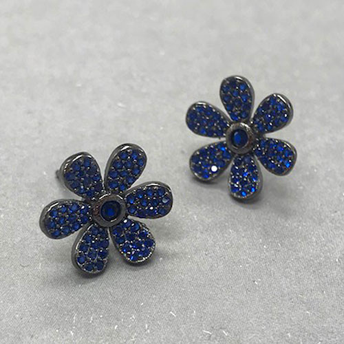 Sapphire Crystal Sterling Flower Post Earrings