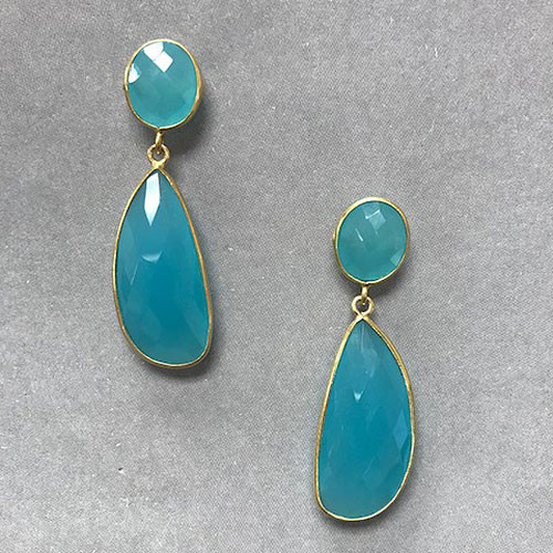 Chalcedony Gemstone Drop Earrings