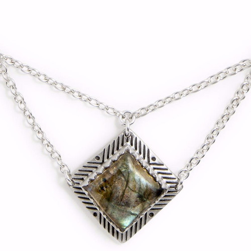 Tribe's Sativa Silver & Labradorite Necklace