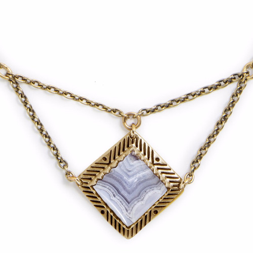 Tribe's Sativa Silver & Blue Lace Agate Necklace