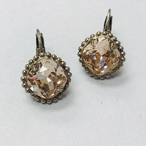 Sorrelli Antiqued Silver Pink Peony Euro Wire Earring