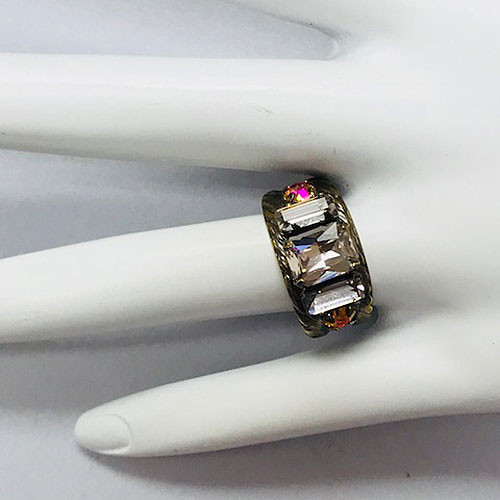 Sorrelli Blush Emerald Cut Crystal Band Ring