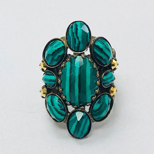 Sorrelli Malachite Cluster Ring