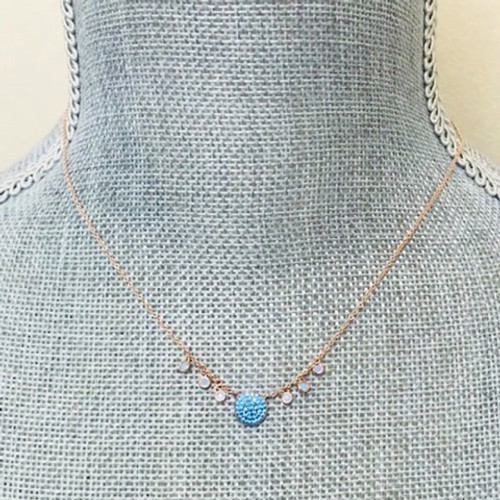 Blue Opal With Rose Gold Circle Necklace