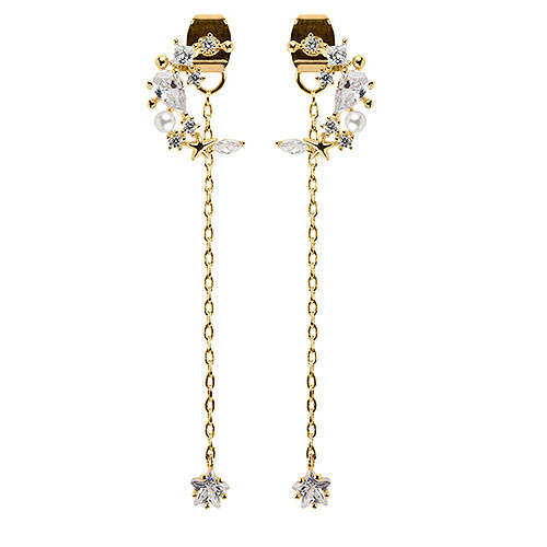 Mystical Moon with Dangling Crystal Star Earring in Gold