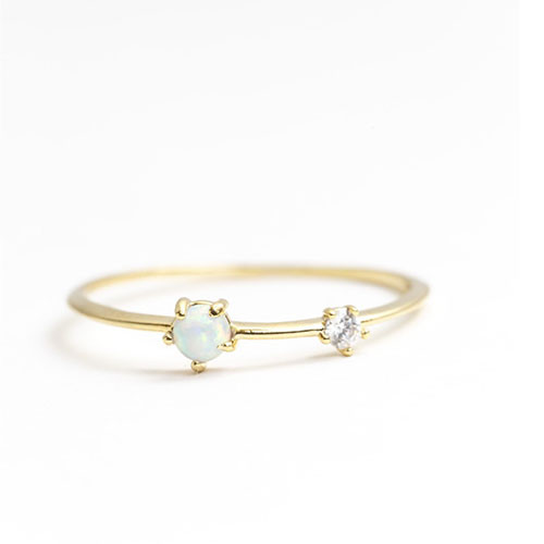 Dainty Two Stone Ring Gold
