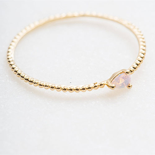 Dainty Gold Dot Band with Tiny Pair-Cut Opal Stone