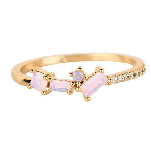 Dainty Cubic Zirconia Band with Multi-shaped Opals Gold