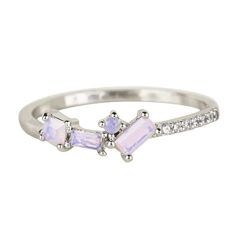 Dainty Cubic Zirconia Band with Multi-shaped Opals Silver