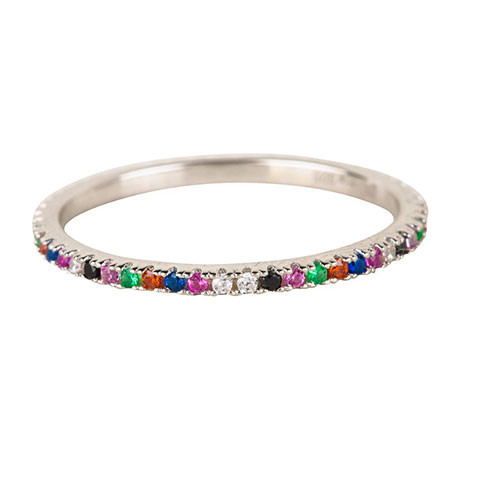 Dainty Multi-Colored Stone Band Silver