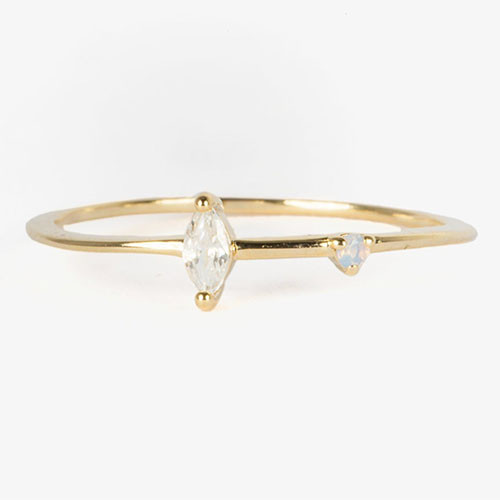Simple Marquis CZ &Dot Opal Ring Gold