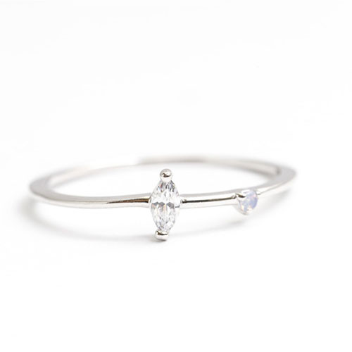 Simple Marquis CZ &Dot Opal Ring Silver