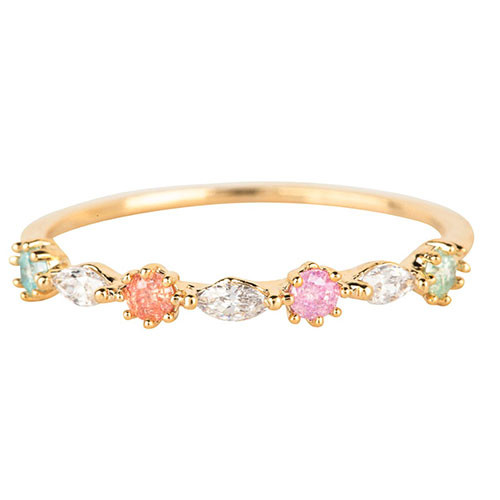 Dainty Pastel Cubic Zirconia Ring Gold