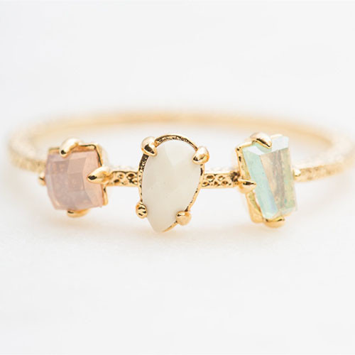 Dainty Three Stone Pastel Ring Gold