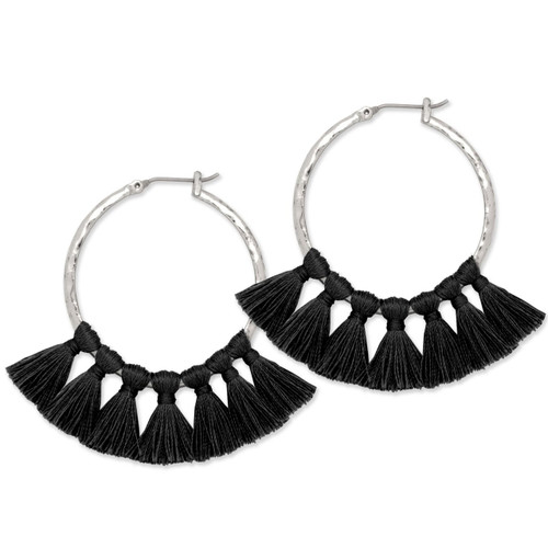 Tribe's Hammered Tassel Hoops in Black