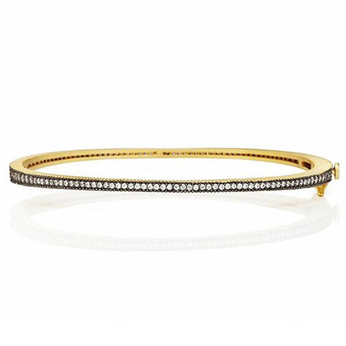 Freida Rothman Signature Slim Pave Hinged Gold Bangle