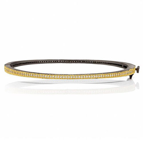 Freida Rothman Signature Slim Pave Hinged Black Platinum Bangle