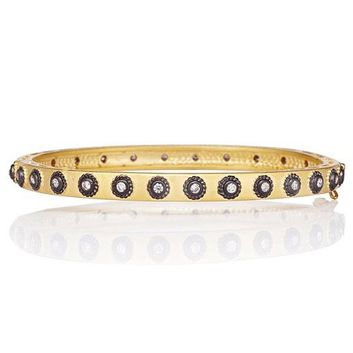 Freida Rothman Signature Studded Eternity Classic Gold Hinge Bangle