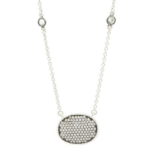 Freida Rothman Oval Pave Necklace