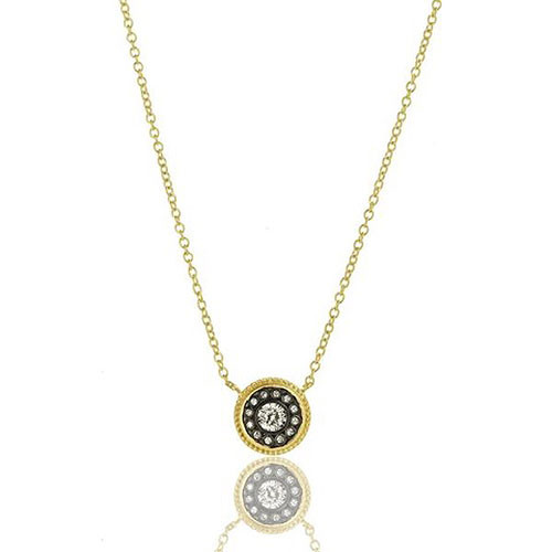 Freida Rothman Shield Medallion Necklace Gold/Black