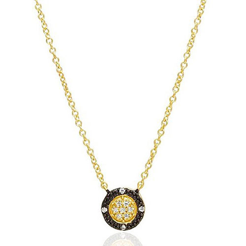 Freida Rothman Pave Stud Medallion Necklace