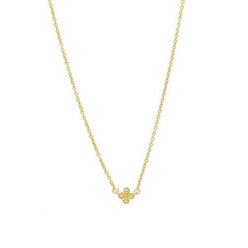 Freida Rothman Mini Clover Necklace Gold