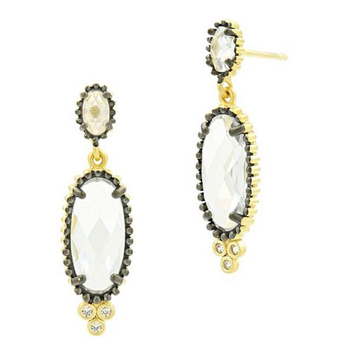Freida Rothman Elongated Faceted Crystal Gold Earring