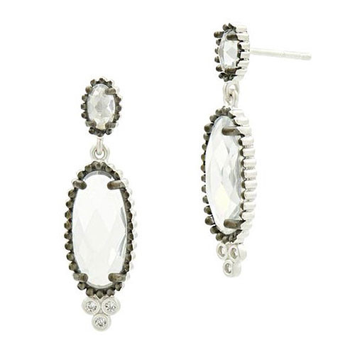 Freida Rothman Elongated Faceted Crystal Platinum Earring
