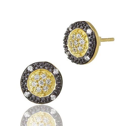 Freida Rothman Modern Two-Tone Medallion Black & Gold Earring