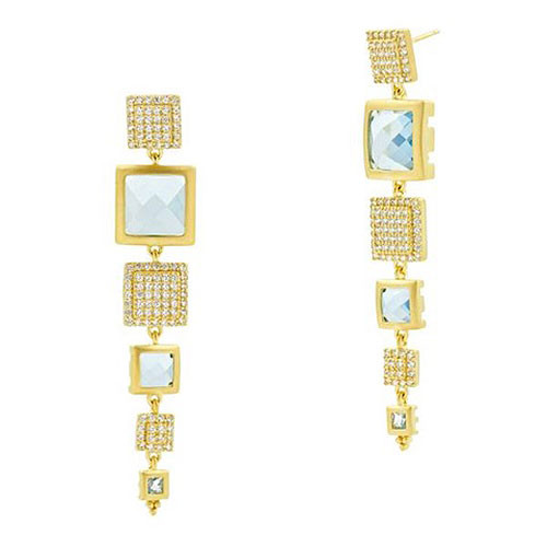 Freida Rothman Ocean Blue Azure Linear Dangle Earrings