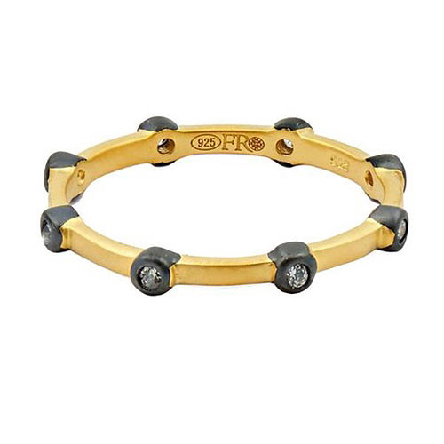 Freida Rothman Gold Bezel Station Stacking Ring