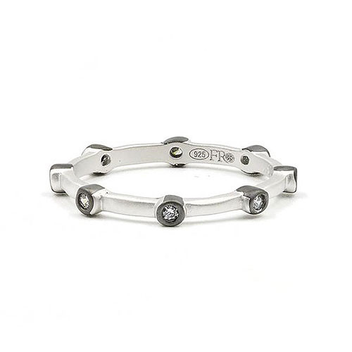 Freida Rothman Platinum Bezel Station Stacking Ring
