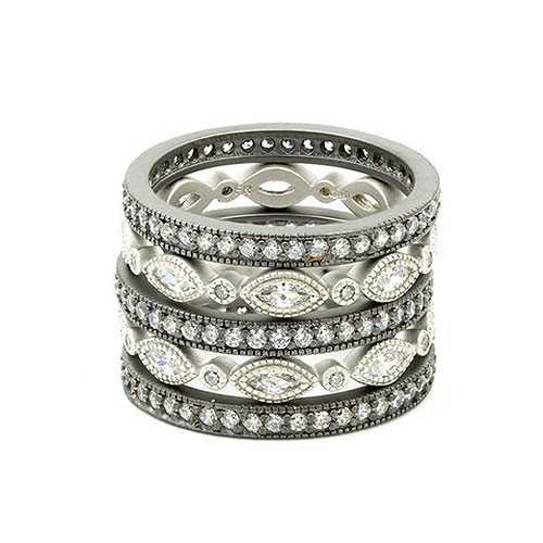 Freida Rothman Five Platinum & Black Marquis Stackable Set