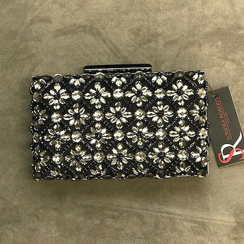 Sondra Roberts Jeweled Black Satin Clutch