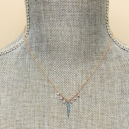 Blue Opal With Rose Gold Spike Necklace