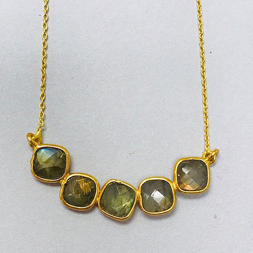 Five Faceted Labradorite Bar Gold Vermeil Necklace