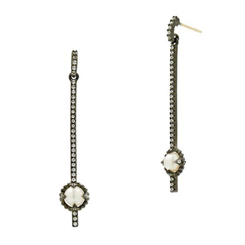 Freida Rothman Industrial Finish Linear Pearl Drop Earring
