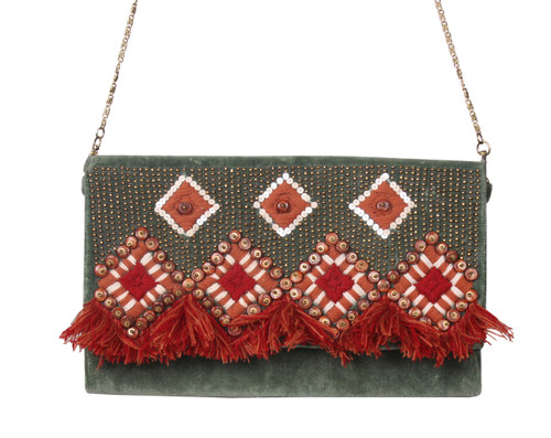 Dark Green Velvet Embellished & Embroidered Clutch