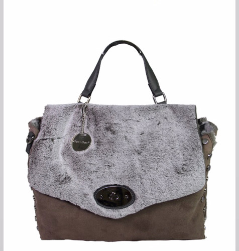 Taupe Super Soft Faux Fur Slouchy Messenger Bag
